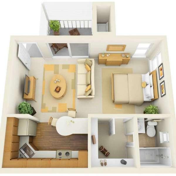 Дизайн проект интерьера однокомнатной квартиры в современном стиле