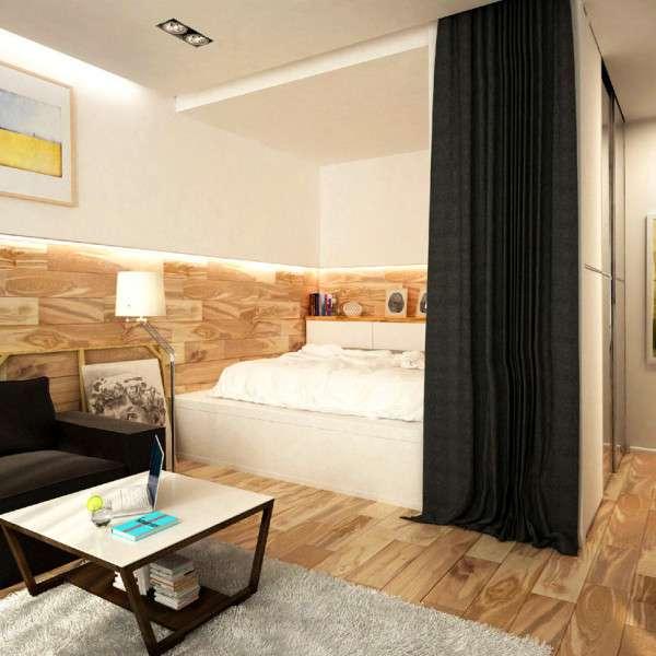 Дизайн интерьера маленькой квартиры - отделение спальни занавесками