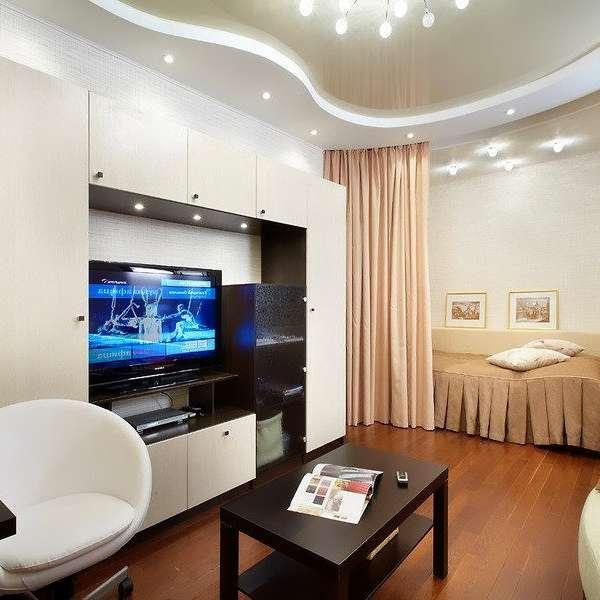 Современный интерьер однокомнатной квартиры - спальня в гостиной