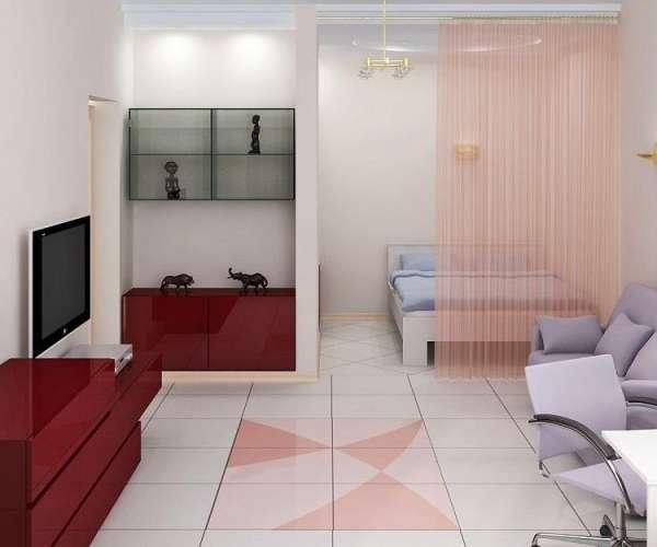 Дизайн интерьера однокомнатной квартиры в пастельных тонах - фото 2017