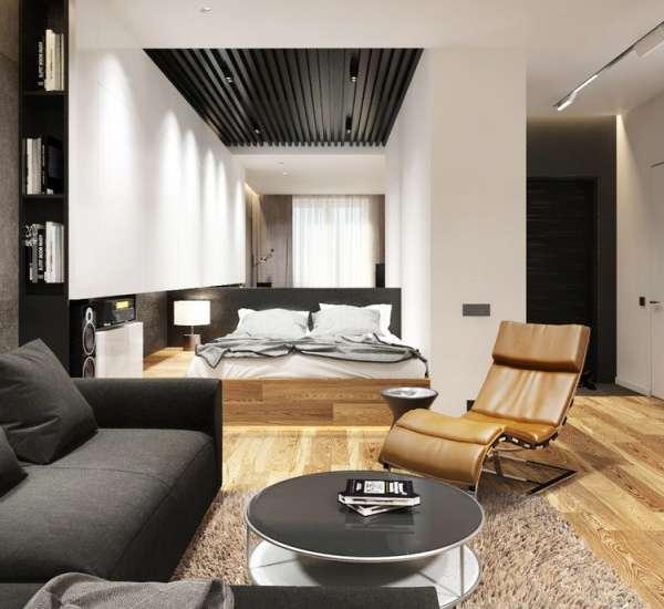Сочетание черного, белого и коричневого в интерьере однокомнатной квартиры