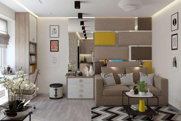 Однокомнатный интерьер - идеи дизайна и цветовое оформление