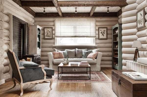 Дизайн интерьера деревянного дома внутри - фото в деревенском стиле