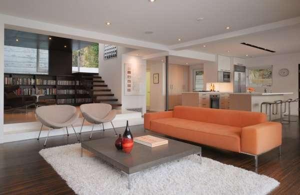 Внутренний дизайн частного дома в современном стиле - фото кухни гостиной