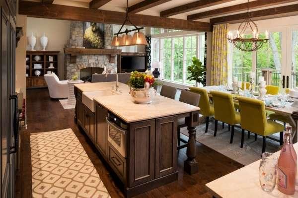 Совмещенная кухня столовая гостиная в интерьере частного дома