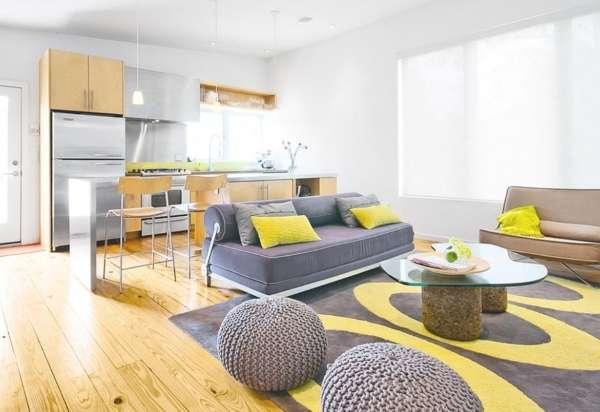 Интерьер небольшой кухни студии в частном доме - современный дизайн на фото