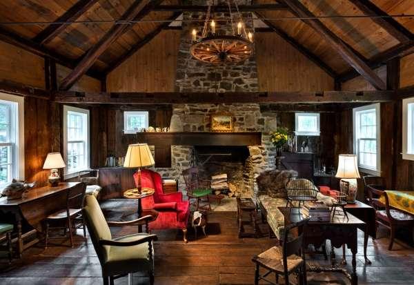 Дом в стиле шале - дизайн интерьера гостиной
