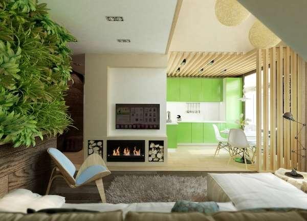 Интерьер кухни гостиной с камином в частном доме