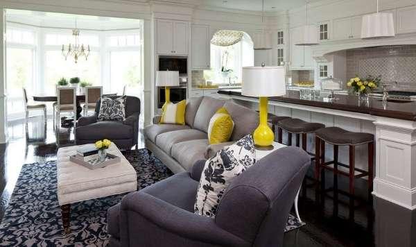 Дизайн кухни столовой гостиной в интерьере частного дома - красивое сочетание цветов