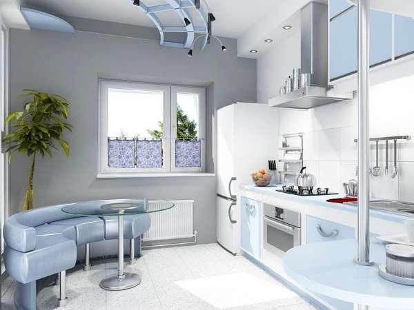 Интерьер маленькой кухни в частном доме - дизайн в белом и синем тонах