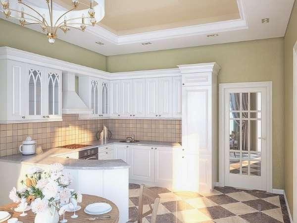 Интерьер небольшой кухни в частном доме - белая кухня в классическом стиле