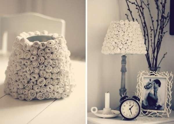 Как сделать светильник из бумаги - настольная лампа на фото