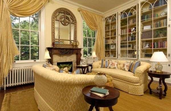 Книжные шкафы со стеклянными дверями в классическом стиле