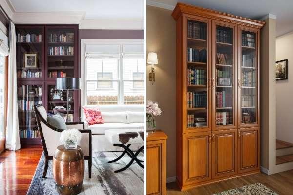 Книжные шкафы со стеклянными дверями для домашней библиотеки