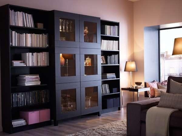 Книжные шкафы со стеклянными дверями и открытыми полками