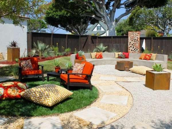 Ландшафтный дизайн двора частного дома своими руками с зоной отдыха