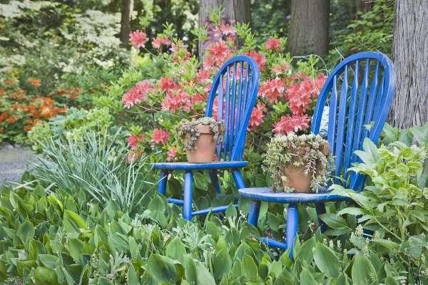 Как украсить ландшафт двора своими руками - фото со старой мебелью