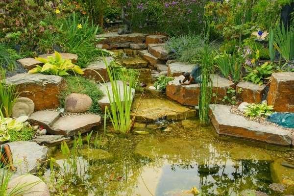 Ландшафт двора своими руками - фото с небольшим прудом