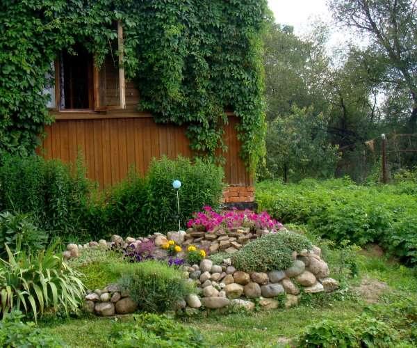 Ландшафтный дизайн двора частного дома своими руками - с альпийской горкой