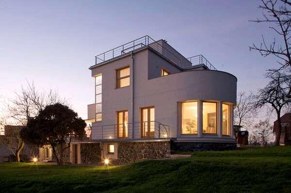 Дизайн фасада частного дома в стиле современный функционализм