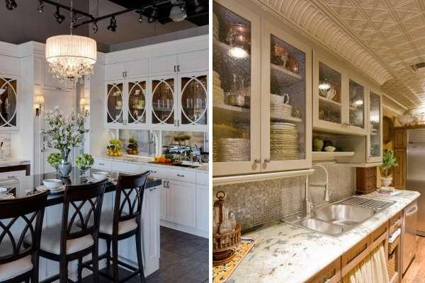 Навесной шкаф со стеклянными дверцами в интерьере кухни
