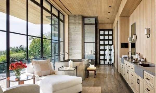 Дизайн большой ванной комнаты в интерьере частного дома