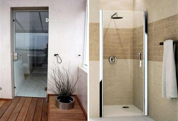Двери для душа стеклянные распашные - фото кабин