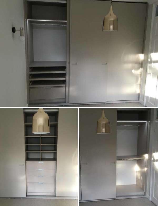 Встроенные  шкафы купе для спальни - фото изнутри