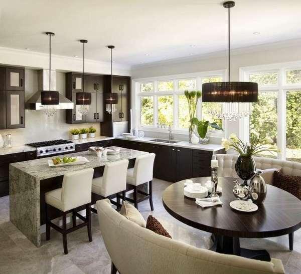 Дизайн кухни столовой гостиной в частном доме в стиле luxury