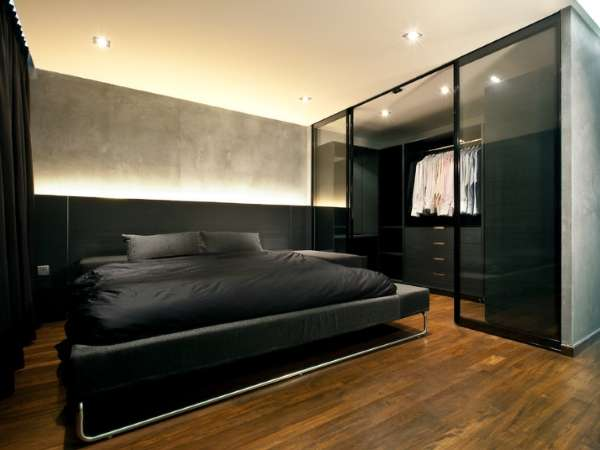 Встроенная гардеробная система с дверьми купе в дизайне спальни