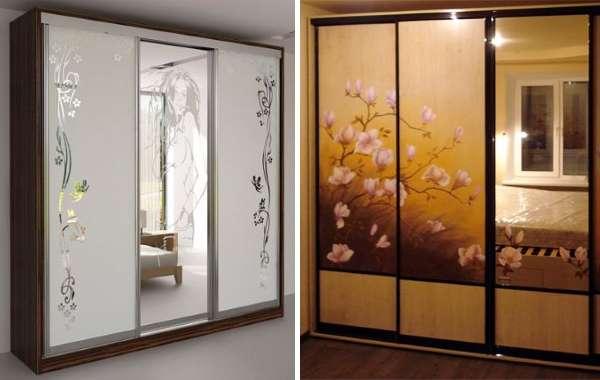 Стеклянные двери для шкафа с рисунком и узорами