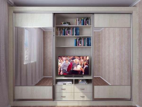 Шкаф купе с тумбой под телевизор в спальню - фото образцов