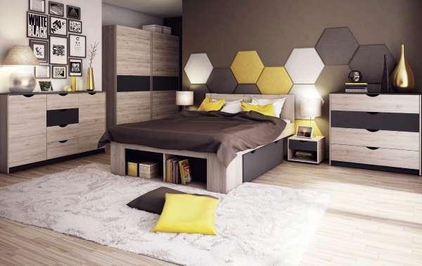 Современные шкафы купе в спальню - фото в коричневом и черном цвете