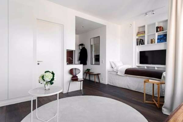 Маленькие квартиры студии - дизайн спальня гостиной на фото