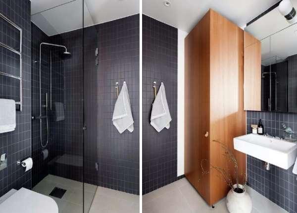 Маленькая квартира студия - дизайн интерьера ванной на фото