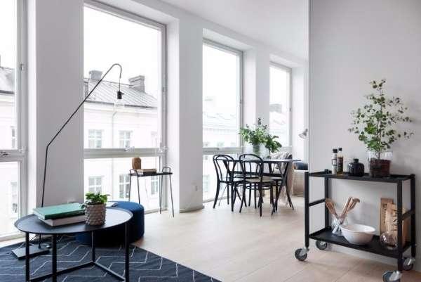 Дизайн маленькой квартиры студии 30 кв м - фото гостиной и обеденной зоны