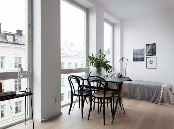 Дизайн интерьера спальни - маленькая квартира студия на фото