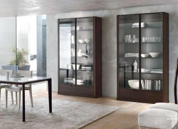 Стеклянные двери для шкафа - фото в дизайне гостиной столовой