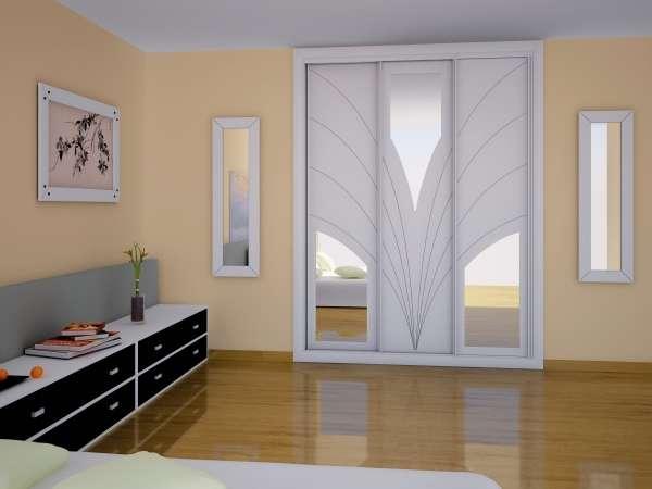 Образцы шкафов купе для спальни - фото в белом цвете