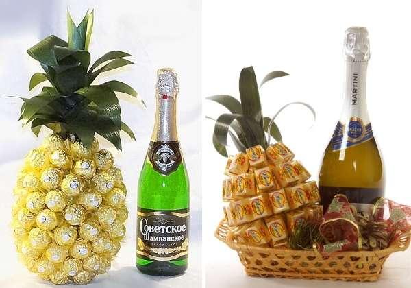 Мастер класс бутылка в конфетах ананас