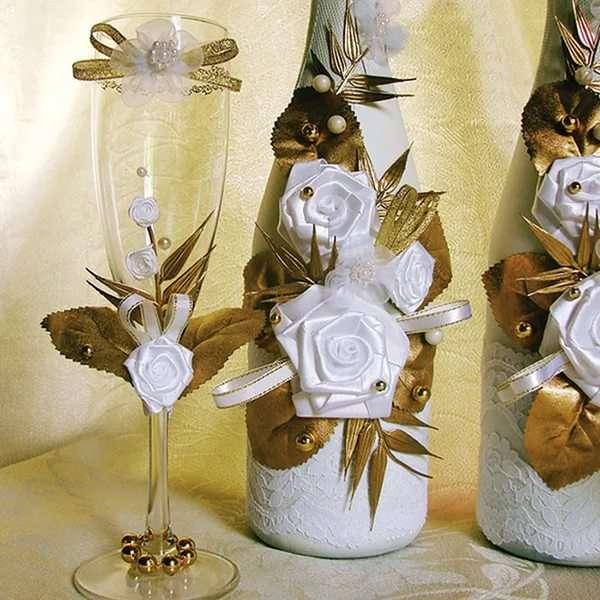 Украсить бутылок лентами на свадьбу