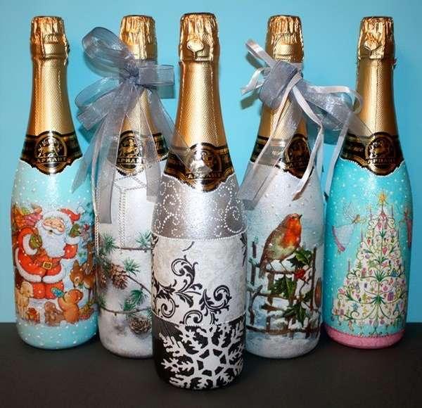 Декупаж бутылок шампанского на новый год видео