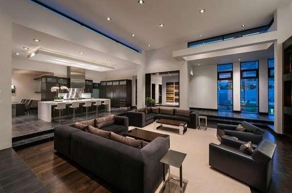 Интерьер большой кухни гостиной в дизайне частного дома