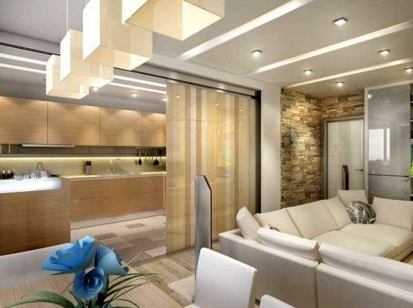 Дизайн интерьера однокомнатной квартиры студии - фото кухни гостиной