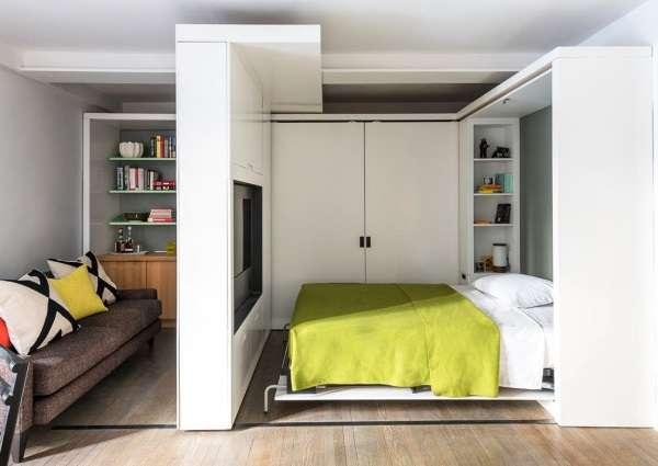 Мебель трансформер и перегородки в интерьере однокомнатной квартиры