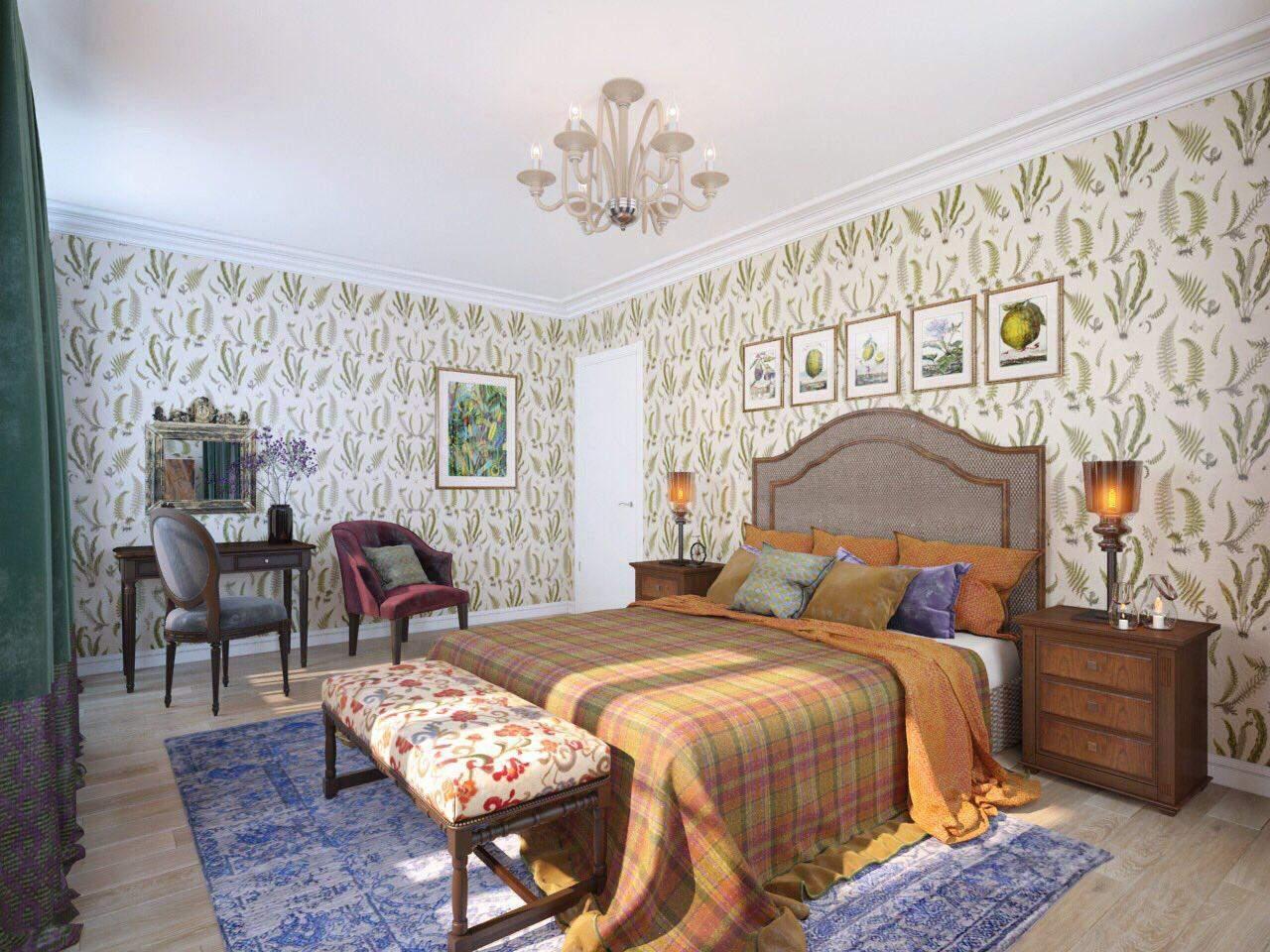Ковер дизайнерской коллекции «Стертая классика» в спальне
