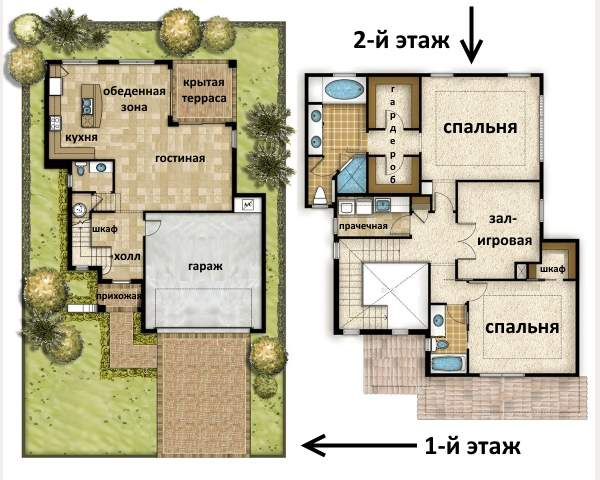 Схема комнат второго этажа в частном доме - фото проекта