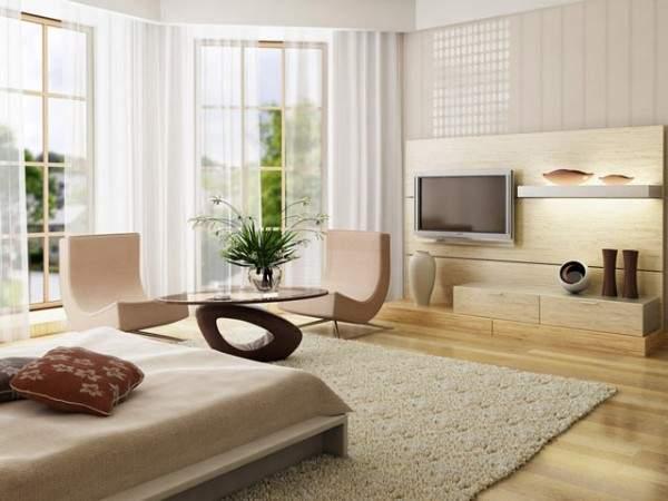 Однокомнатный интерьер в современном стиле с большими окнами