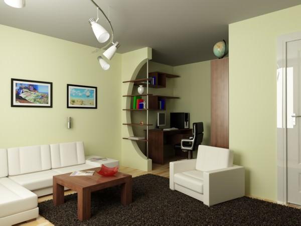 Дизайн однокомнатной квартиры с рабочим местом - разделить на две зоны