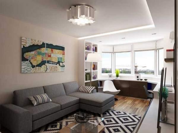 Дизайн однокомнатной квартиры с балконом - как разделить на две зоны